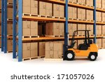 3d warehouse and forklift | Shutterstock . vector #171057026