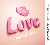 realistic pink plastic love... | Shutterstock . vector #171064472
