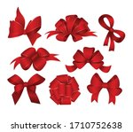 Set Of Red Gift Bows. Vector...