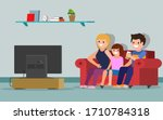 people watching tv. happy...   Shutterstock .eps vector #1710784318