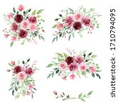 watercolor floral set with...   Shutterstock . vector #1710794095