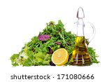 salad mix with bottle of olive...   Shutterstock . vector #171080666