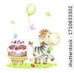 zebra  cake  butterflies ... | Shutterstock . vector #1710833302