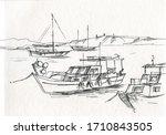 Fishing Boats At Sea Sketch