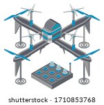drone with remote controller ... | Shutterstock .eps vector #1710853768