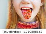 funny teenage girl showing...   Shutterstock . vector #1710858862