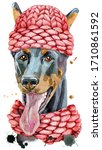 Watercolor Portrait Doberman I...