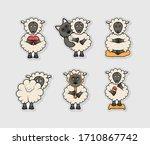 set of funny sheep vector... | Shutterstock .eps vector #1710867742