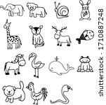 a set of zoo animal  creature ... | Shutterstock .eps vector #1710887248