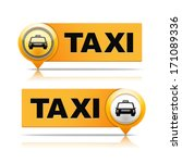 Two taxi banners, vector eps10 illustration - stock vector