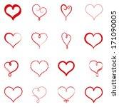 vector set of simple hearts | Shutterstock .eps vector #171090005