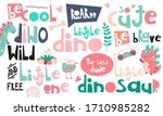 set of hand drawn dino quotes ... | Shutterstock . vector #1710985282