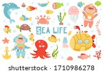 Cute Sea Life Set. Hand Drawn....