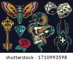 Vintage Colorful Tattoos Set...
