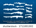 a set of isolated snow caps.... | Shutterstock .eps vector #1711001302