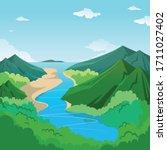 vector of a landscape ... | Shutterstock .eps vector #1711027402