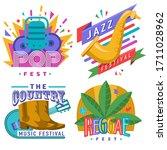 music festivals emblem set ...   Shutterstock .eps vector #1711028962