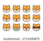 set of cute shiba inu puppy... | Shutterstock .eps vector #1711040875