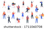 people with devices. men and... | Shutterstock . vector #1711060708