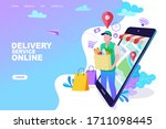 delivery concept. man...   Shutterstock .eps vector #1711098445