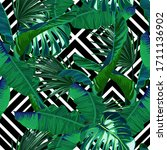 tropical seamless pattern. palm ...   Shutterstock .eps vector #1711136902