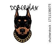 Doberman\'s Head With A Chain O...