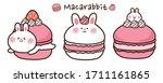 set of macaron with rabbit hand ... | Shutterstock .eps vector #1711161865