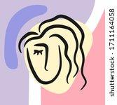 sketch of woman's head on... | Shutterstock .eps vector #1711164058