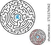 Black Round Maze. Game For Kids....