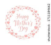 card with heart happy mothers... | Shutterstock .eps vector #1711184662