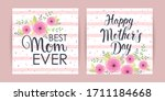 set of cards with flowers happy ... | Shutterstock .eps vector #1711184668