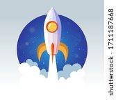 rocket launch ship icon vector  ... | Shutterstock .eps vector #1711187668