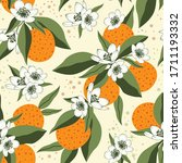 citrus seamless pattern with... | Shutterstock .eps vector #1711193332