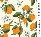 citrus seamless pattern with... | Shutterstock .eps vector #1711193335