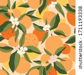 citrus seamless pattern with... | Shutterstock .eps vector #1711193338