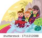 roller coaster. children ride... | Shutterstock .eps vector #1711212088