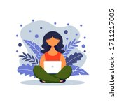 woman with laptop sitting in...   Shutterstock .eps vector #1711217005