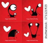 valentine s day card with... | Shutterstock .eps vector #171121925