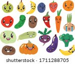 set funny of vegetables and... | Shutterstock .eps vector #1711288705