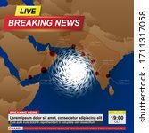 breaking news with asia map and ... | Shutterstock .eps vector #1711317058