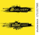 black grunge tire tracks and... | Shutterstock .eps vector #1711317085