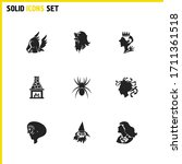 witch icons set with old...
