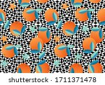 orange fruits on black and... | Shutterstock .eps vector #1711371478