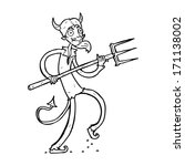 cartoon devil with pitchfork | Shutterstock .eps vector #171138002