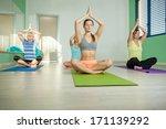 female group is doing yoga... | Shutterstock . vector #171139292
