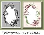 sketch drawing set of vintage... | Shutterstock .eps vector #1711395682