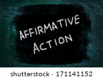 Small photo of Affirmative Action words written on grunge background