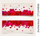 Hearts on abstract love background.Be my valentine.Love romantic messages with hearts.February 14.Valentines day card,banner.Global love day, may 1.Three dimensional red hearts shapes. | Shutterstock vector #171144836