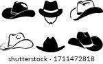 Cowboy Hat Silhouette . Vector...