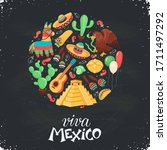 mexican culture attributes... | Shutterstock .eps vector #1711497292